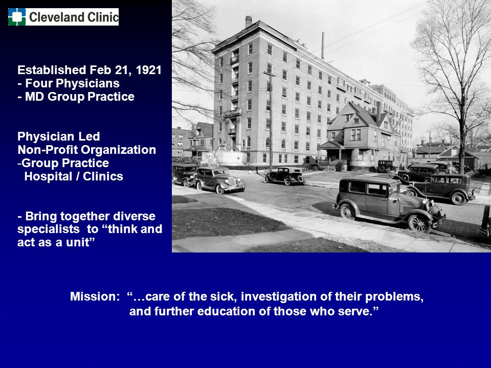Established Feb 21, 1921 - Four Physicians. - MD Group Practice. Physician Led. Non-Profit Organization.