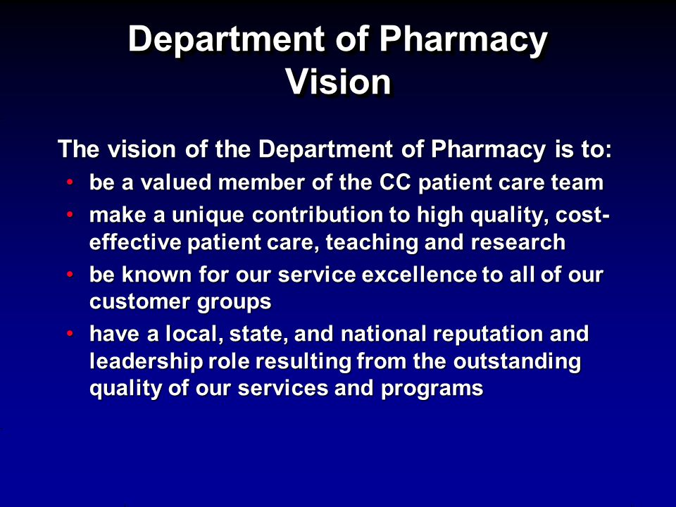 Department of Pharmacy Vision