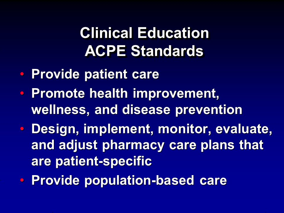 Clinical Education ACPE Standards