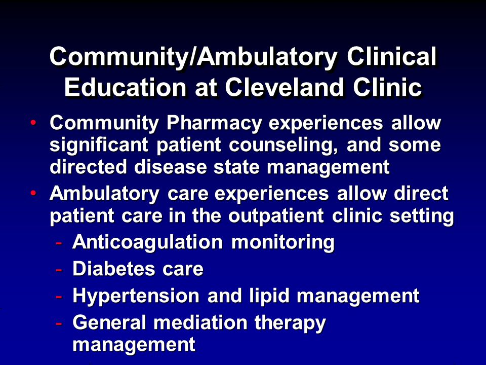 Community/Ambulatory Clinical Education at Cleveland Clinic