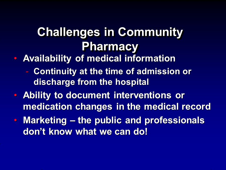 Challenges in Community Pharmacy