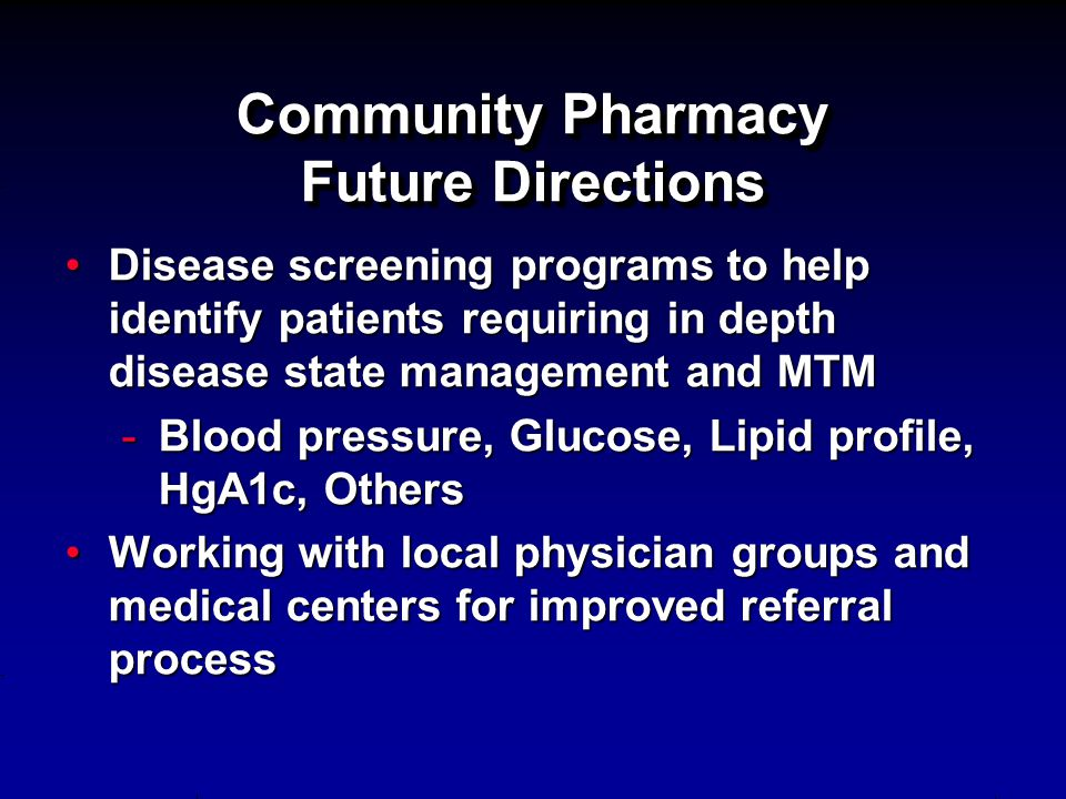 Community Pharmacy Future Directions
