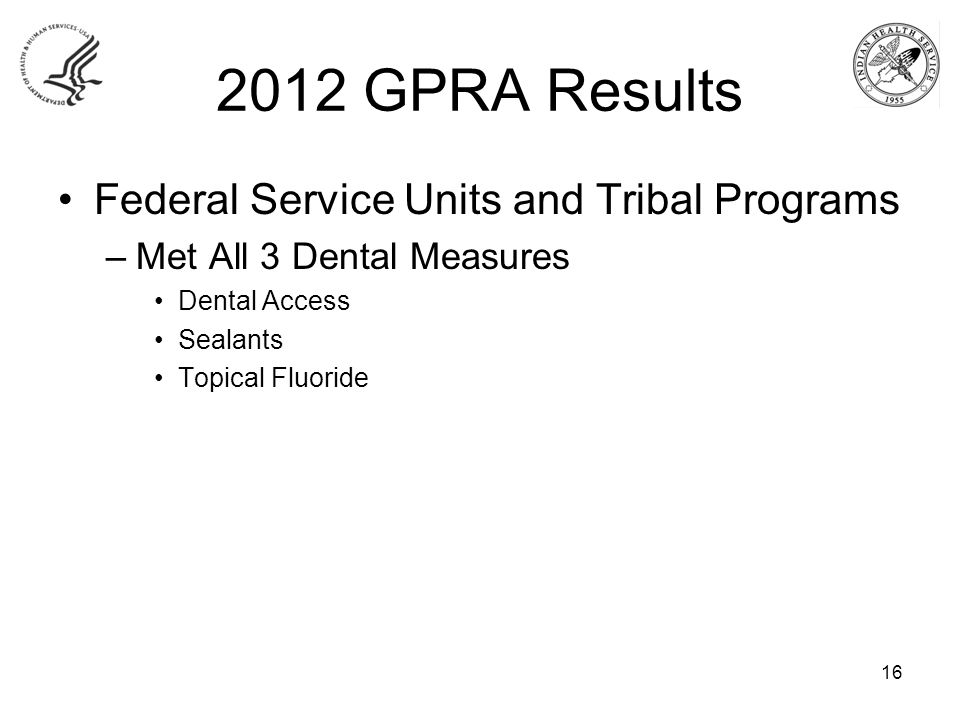 2012 GPRA Results Federal Service Units and Tribal Programs