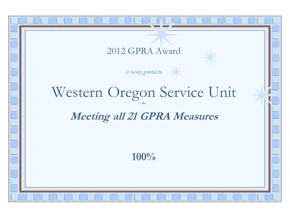 2012 GPRA Award is hereby granted to Western Oregon Service Unit for Meeting all 21 GPRA Measures 100%