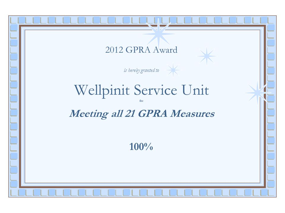 2012 GPRA Award is hereby granted to Wellpinit Service Unit for Meeting all 21 GPRA Measures 100%