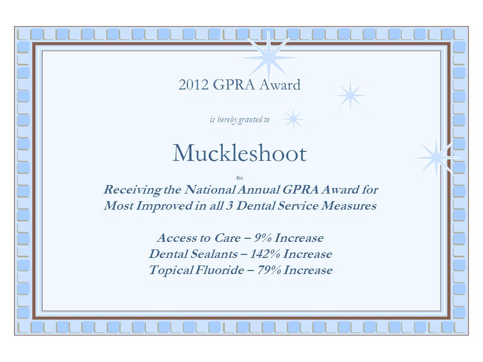2012 GPRA Award is hereby granted to Muckleshoot for Receiving the National Annual GPRA Award for Most Improved in all 3 Dental Service Measures Access to Care – 9% Increase Dental Sealants – 142% Increase Topical Fluoride – 79% Increase