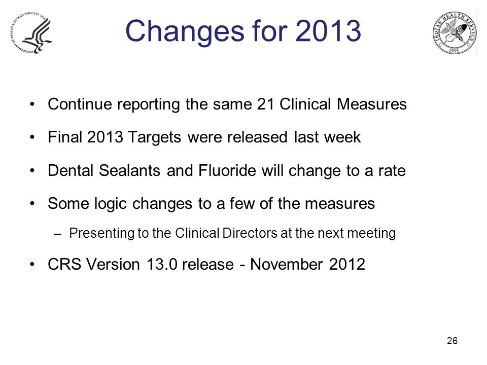 Changes for 2013 Continue reporting the same 21 Clinical Measures