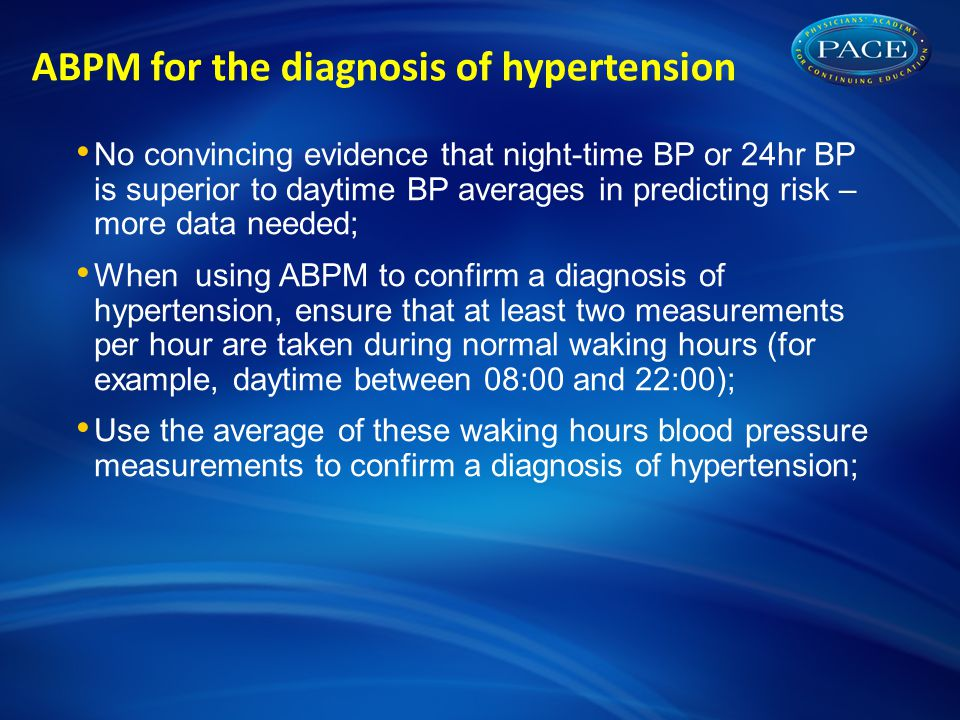 ABPM for the diagnosis of hypertension