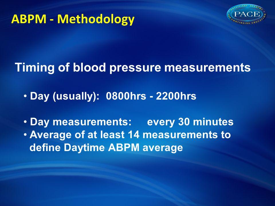 ABPM - Methodology Timing of blood pressure measurements