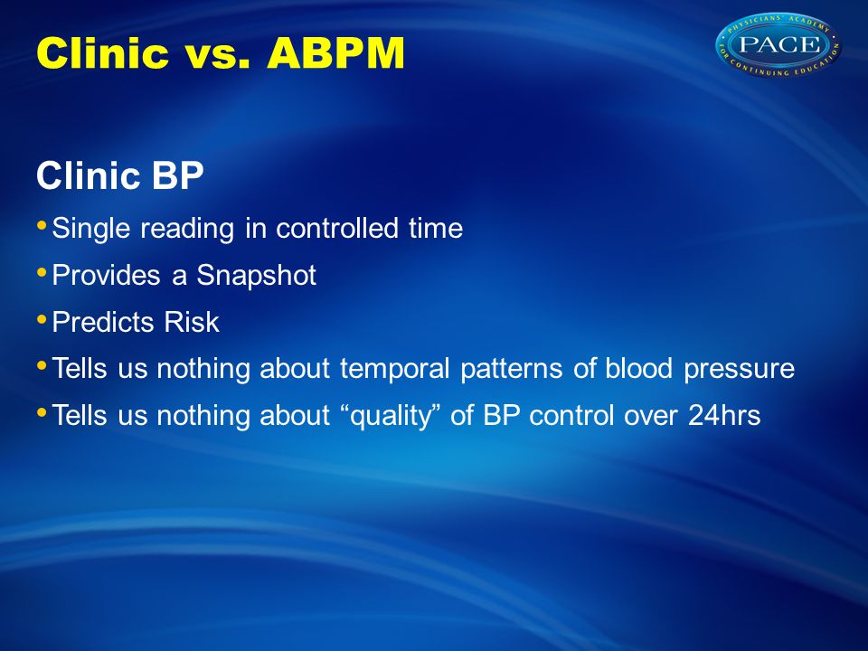 Clinic vs. ABPM Clinic BP Single reading in controlled time