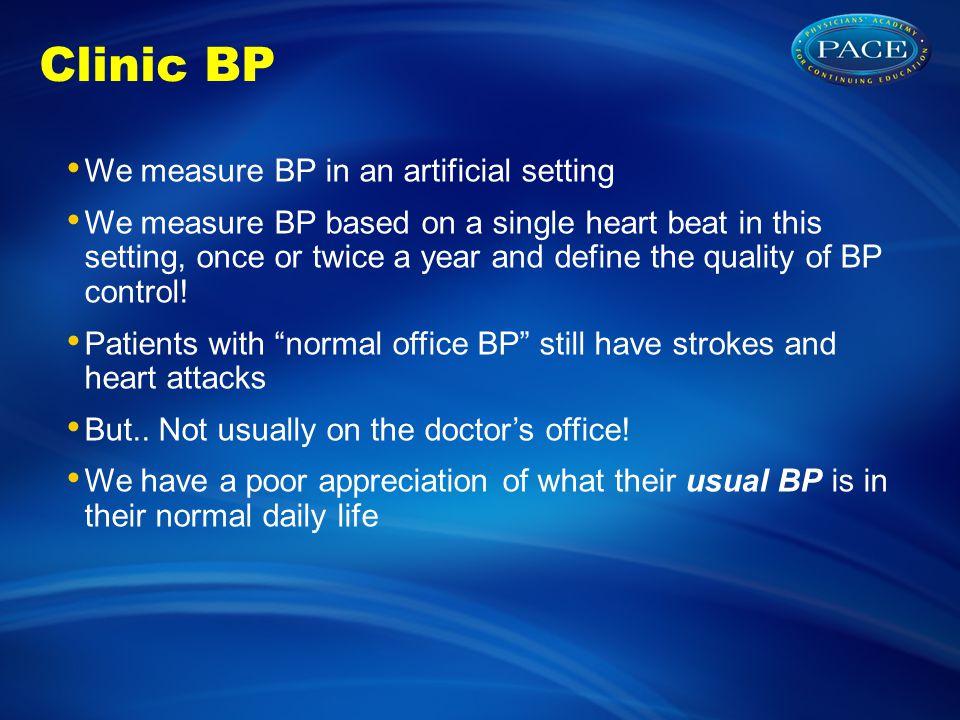 Clinic BP We measure BP in an artificial setting