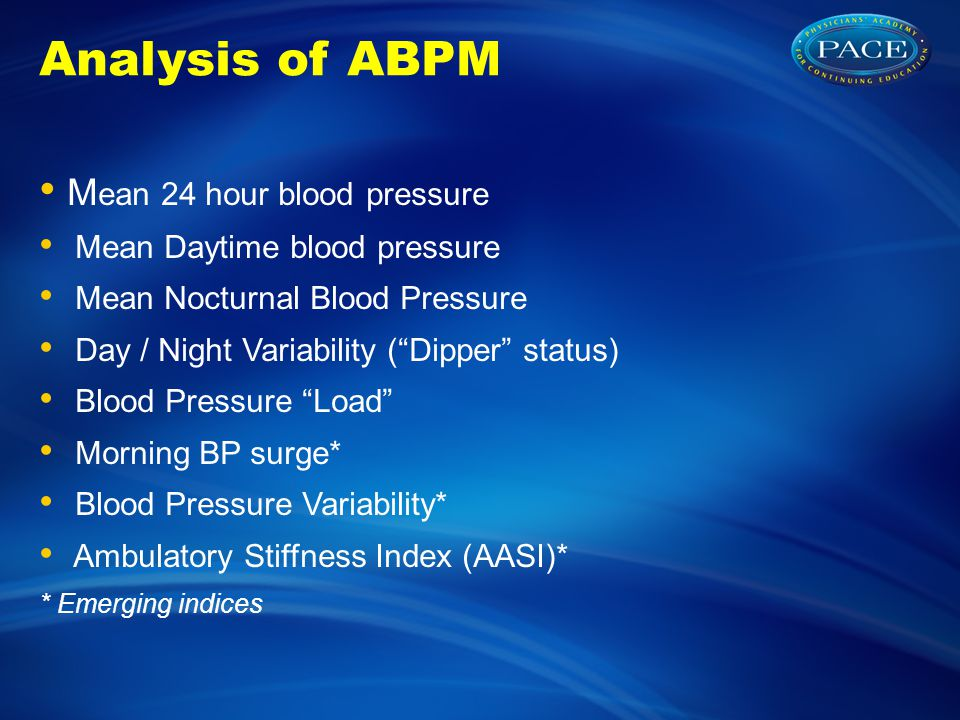 Analysis of ABPM Mean 24 hour blood pressure
