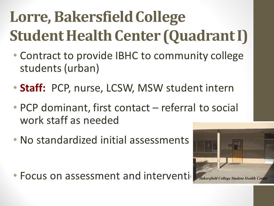 Lorre, Bakersfield College Student Health Center (Quadrant I)
