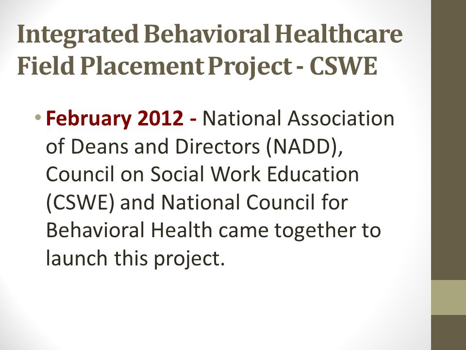 Integrated Behavioral Healthcare Field Placement Project - CSWE