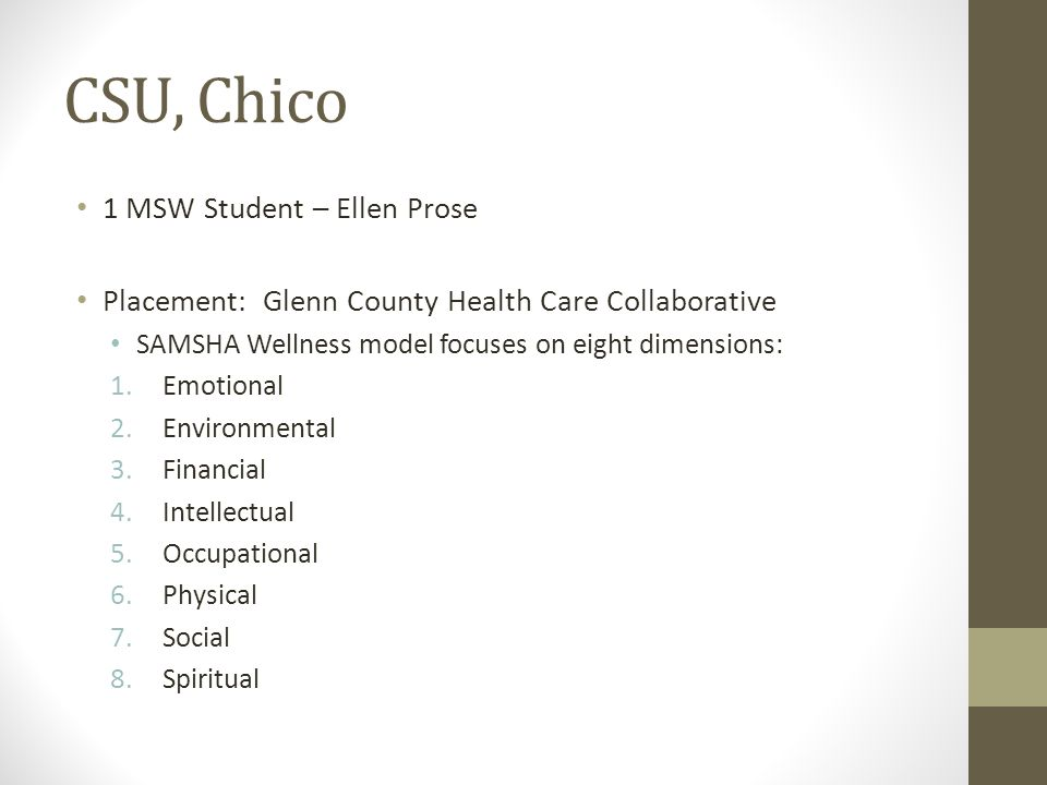 CSU, Chico 1 MSW Student – Ellen Prose
