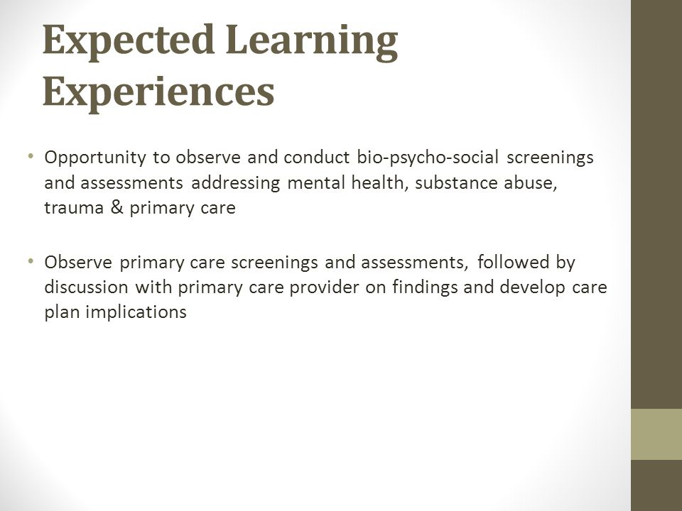 Expected Learning Experiences