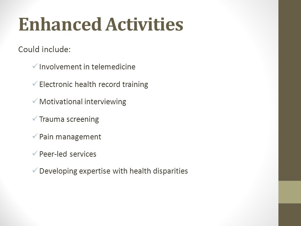 Enhanced Activities Could include: Involvement in telemedicine