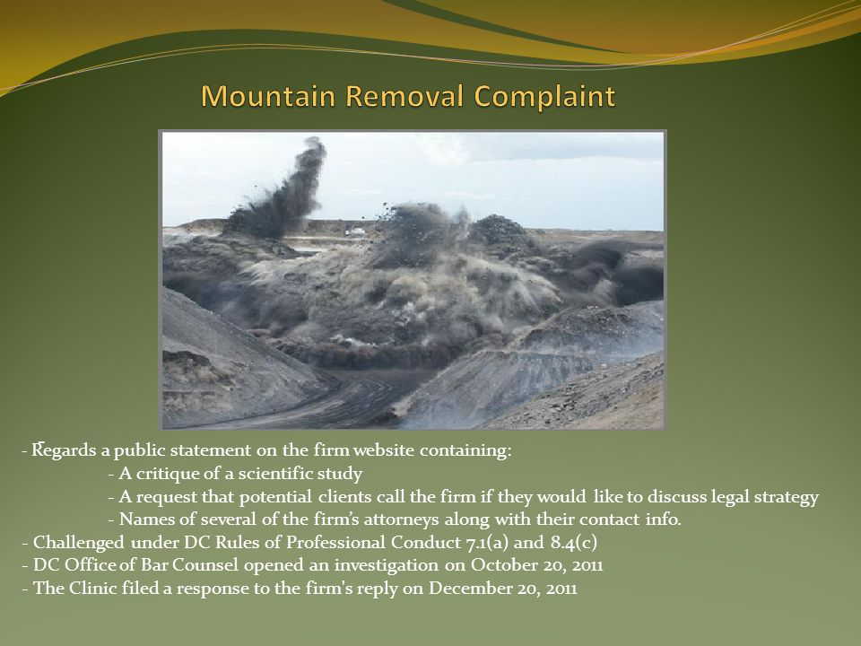Mountain Removal Complaint
