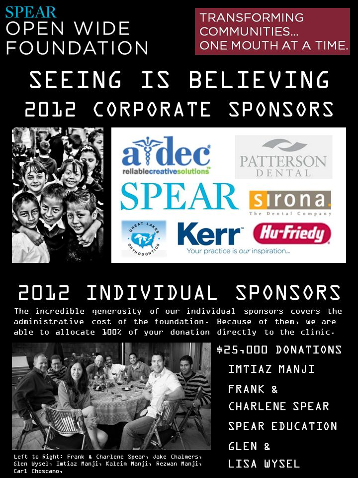 SEEING IS BELIEVING 2012 CORPORATE SPONSORS 2012 INDIVIDUAL SPONSORS