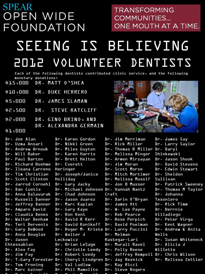 SEEING IS BELIEVING 2012 VOLUNTEER DENTISTS $15,000 DR. MATT O'SHEA