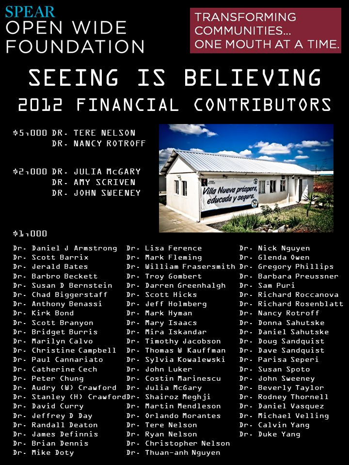 2012 FINANCIAL CONTRIBUTORS