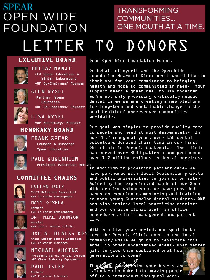 LETTER TO DONORS EXECUTIVE BOARD HONORARY BOARD COMMITTEE CHAIRS