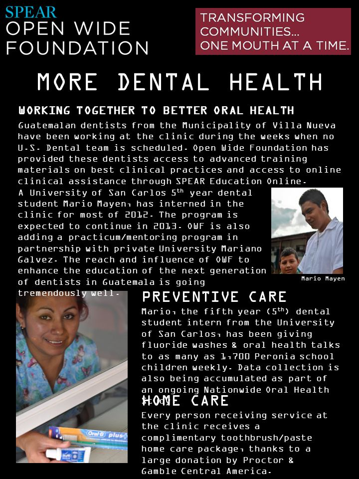 MORE DENTAL HEALTH WORKING TOGETHER TO BETTER ORAL HEALTH.