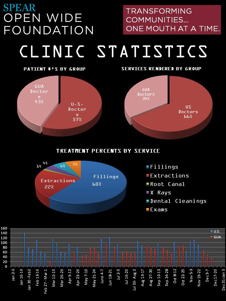 CLINIC STATISTICS TREATMENT PERCENTS BY SERVICE Fillings Extractions