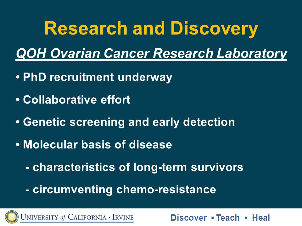 Research and Discovery QOH Ovarian Cancer Research Laboratory