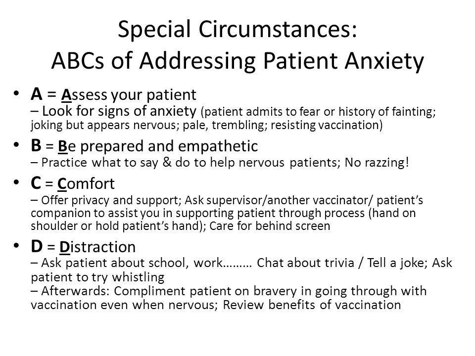 Special Circumstances: ABCs of Addressing Patient Anxiety