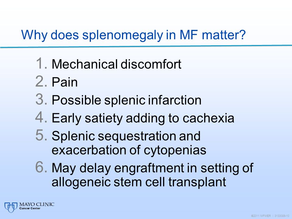 Why does splenomegaly in MF matter