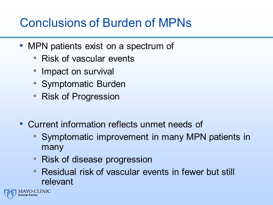 Conclusions of Burden of MPNs