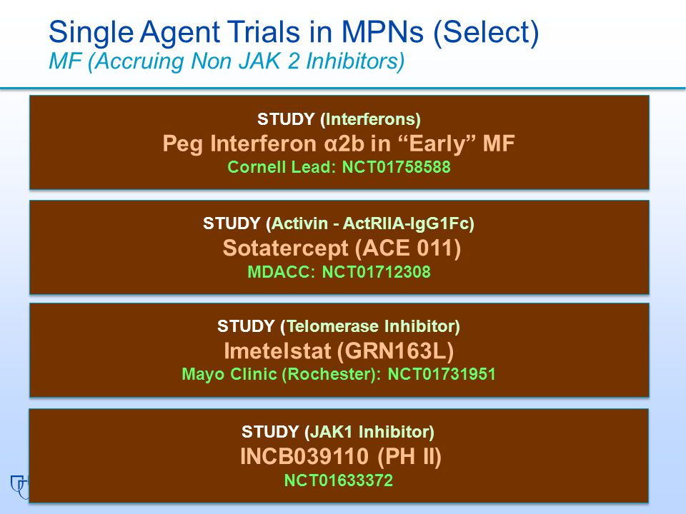 Single Agent Trials in MPNs (Select) MF (Accruing Non JAK 2 Inhibitors)