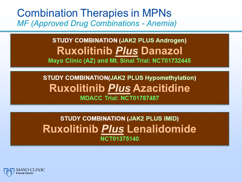 Combination Therapies in MPNs MF (Approved Drug Combinations - Anemia)