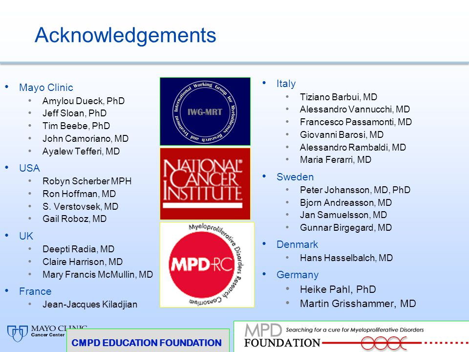 Acknowledgements Italy Mayo Clinic USA Sweden UK Denmark Germany