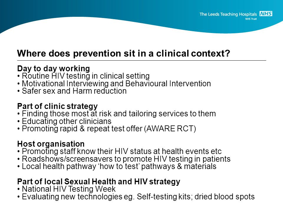 Where does prevention sit in a clinical context