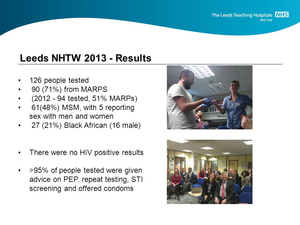 Leeds NHTW Results 126 people tested 90 (71%) from MARPS