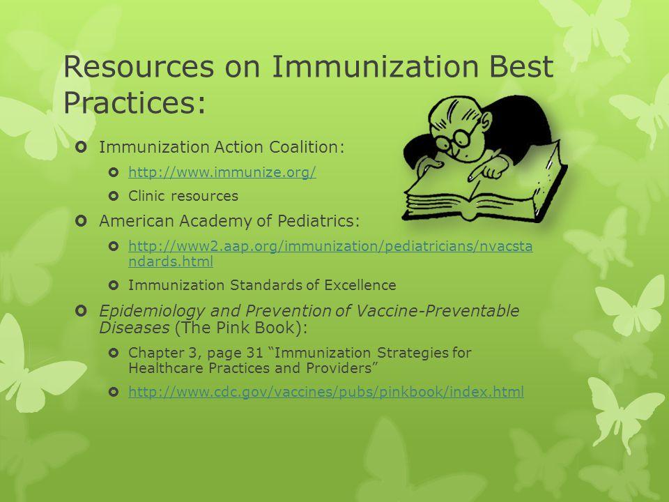 Resources on Immunization Best Practices: