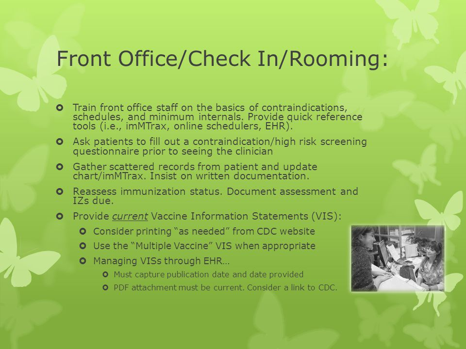 Front Office/Check In/Rooming: