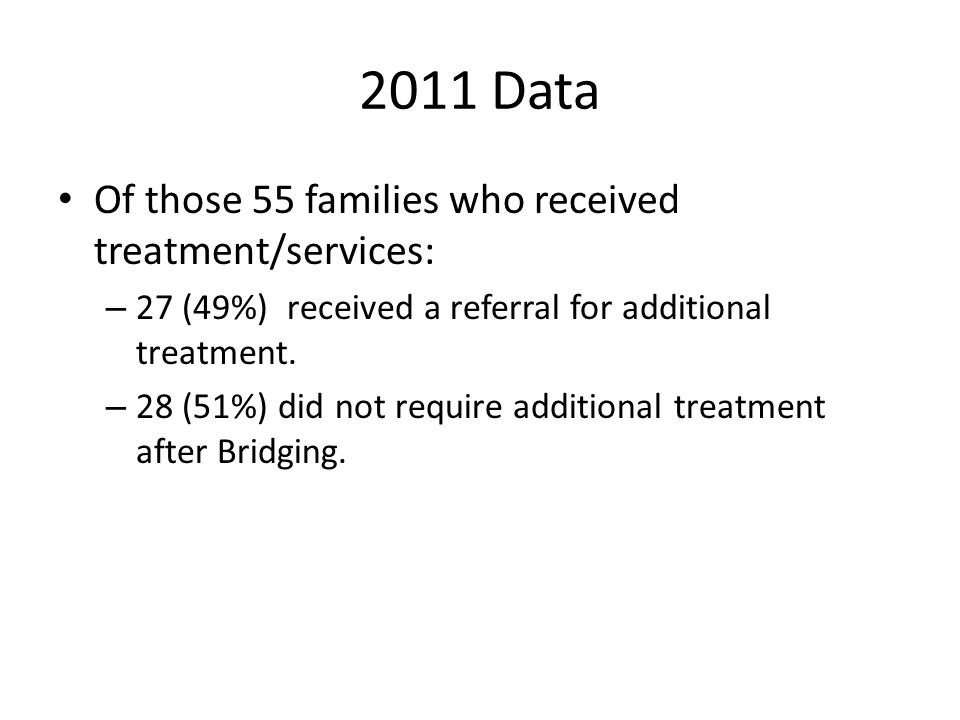 2011 Data Of those 55 families who received treatment/services: