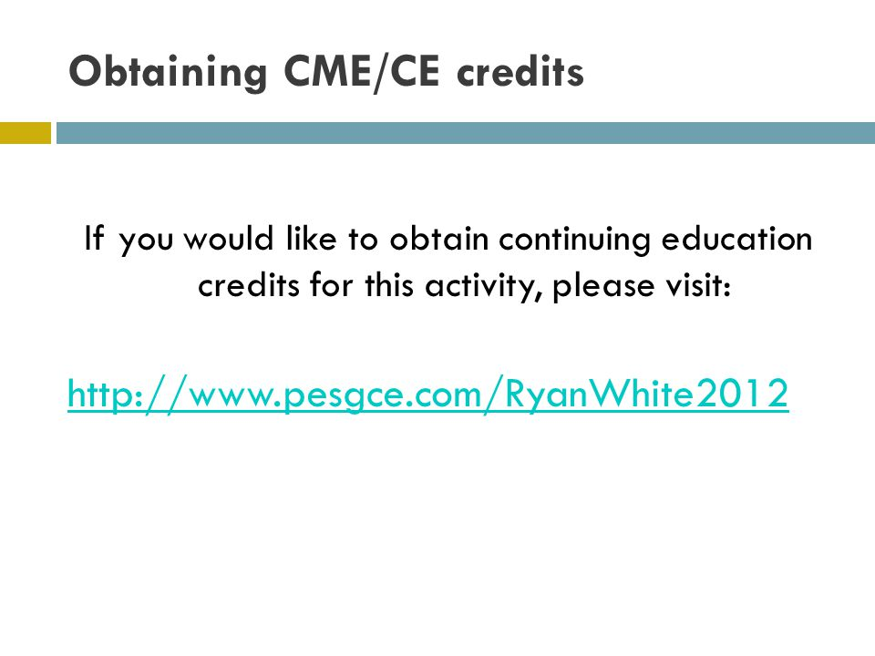 Obtaining CME/CE credits
