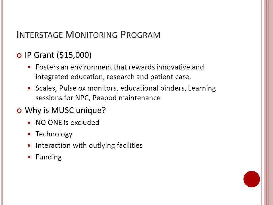 Interstage Monitoring Program