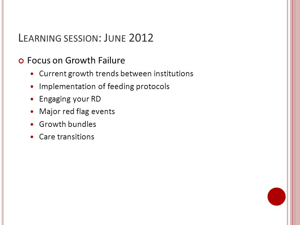 Learning session: June 2012