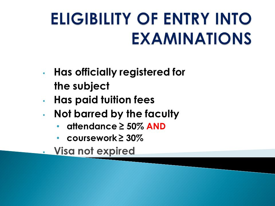 ELIGIBILITY OF ENTRY INTO EXAMINATIONS