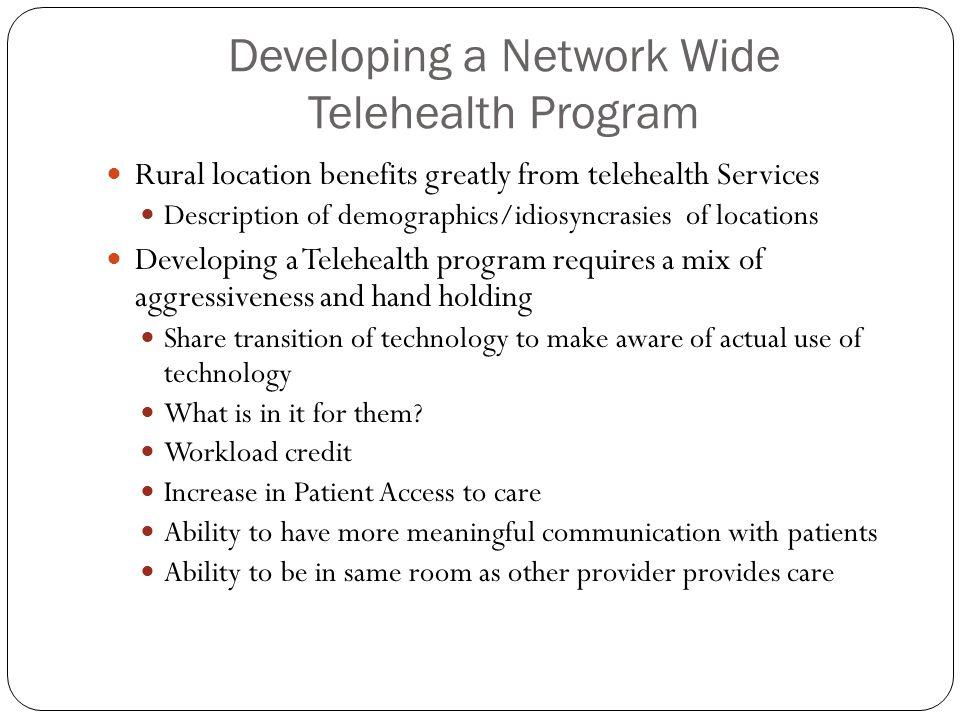 Developing a Network Wide Telehealth Program