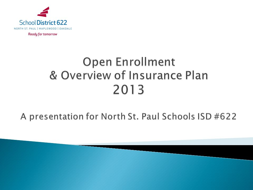 Open Enrollment & Overview of Insurance Plan 2013 A presentation for North St. Paul Schools ISD #622