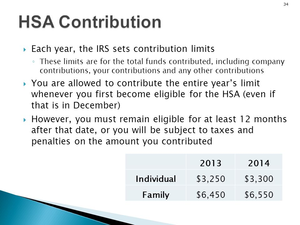 HSA Contribution Each year, the IRS sets contribution limits