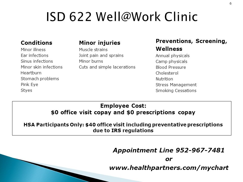 ISD 622 Well@Work Clinic Preventions, Screening, Wellness. Annual physicals. Camp physicals. Blood Pressure.
