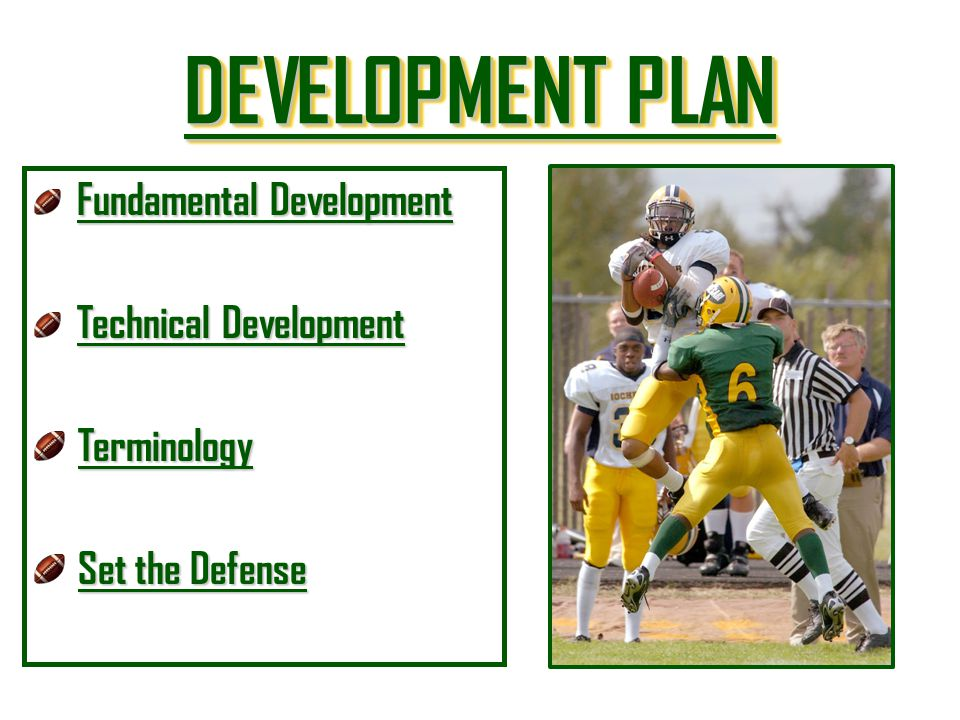 DEVELOPMENT PLAN Terminology Set the Defense Fundamental Development
