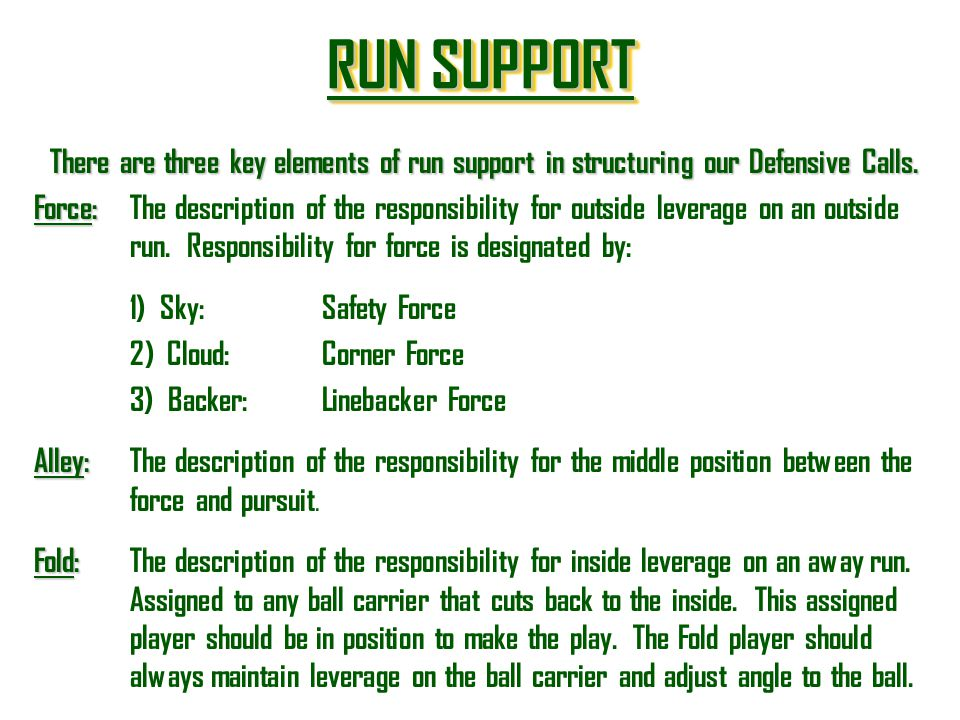 RUN SUPPORT There are three key elements of run support in structuring our Defensive Calls.